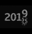 2019 broken silver numbers vector image