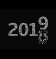 2019 broken silver numbers vector image vector image