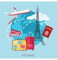 Air travel background Flat style design vector image