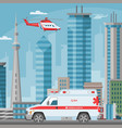 ambulance car and helicopter medical emergency vector image
