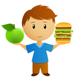 apple and hamburger vector image vector image