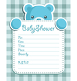 blue bear baby shower card vector image vector image