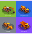 building vehicles isometric design concept vector image vector image