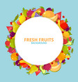 cartoon fruits background colorful circle round vector image vector image