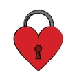 cartoon padlock shaped heart loved vector image vector image