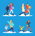 cartoon people walking on winter snow street vector image vector image