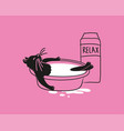 cat is bathed in milk vector image