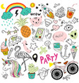 children drawings creative childish doodle sketch vector image
