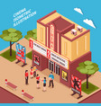 cinema building isometric composition vector image vector image
