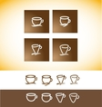 Coffee logo cup contour line drawing vector image