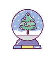 crystal ball with tree snow decoration merry vector image vector image