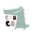 cute cartoon crocodile print childish print for vector image vector image