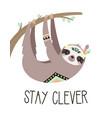 cute cartoon sloth hanging on tree tribal vector image vector image