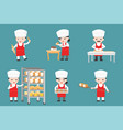 cute pastry chef characters set with bread and vector image