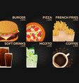 fast food restaurant menu burger pizza french vector image