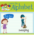 Flashcard letter S is for sweeping vector image vector image