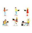 flat set of young people with computers vector image vector image