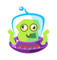 furious green alien cute cartoon monster vector image vector image