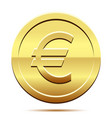 golden icon of coin euro on white background vector image