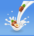 Hazelnuts and milk splash nuts yogurt flow vector image