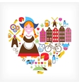 Heart with Netherlands icons vector image vector image