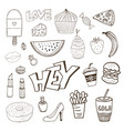isolated elements with sweets food and girly vector image vector image