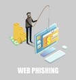 isometric cyber thief hacking bank account card vector image