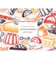 italian desserts pastries cookies frame hand vector image