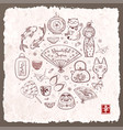 japan doodle sketch elements on vintage rice paper vector image