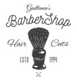 logotype for barbershop in black and white style vector image vector image