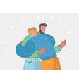 male friendship two happy guys hug each other vector image vector image