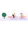 man and woman characters riding bicycle in city vector image vector image