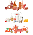 milk meat and fish borders vector image vector image