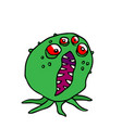 monster four-eyed octopus vector image vector image