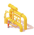 operator opens gas or oil pipeline valve vector image vector image