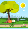 park with tree flowers and city silhouette on vector image