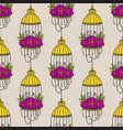 seamless pattern with bird cages and poppies vector image