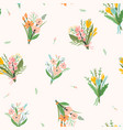 seamless pattern with bouquets flowers vector image