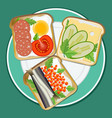 set different toast vector image vector image