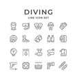 set line icons of diving vector image