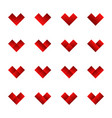 set of cute heart icons vector image