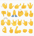 set of hands icons and symbols emoji hand icons vector image vector image