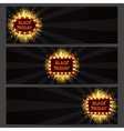Set of horizontal banners with glowing lamps for vector image vector image