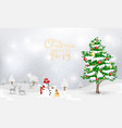 snowman and christmas tree with calligraphy of vector image
