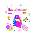 social media communication concept hand holding vector image vector image