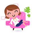 Sofa bed woman vector image vector image
