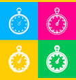 stopwatch sign four styles of icon vector image vector image