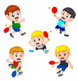 the various positions of the tennis table player vector image