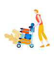 tourist in airport with baggage traveling journey vector image vector image