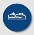 tow truck sign white contour icon in dark vector image